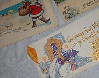 1900s Art Deco Christmas Greeting postcards and Merry Holiday card Antique vintage ephemera The Buzza Company USA