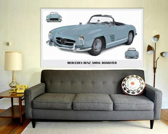 Mercedes Benz 300SL Roadster 1962,Art Print 14x8 in and larger sizes, Car Art print,Original art for men cave,Giftforher,Classic cars
