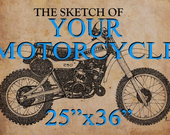 Custom Father's birthday gift: 25x36 in. personalized handmade sketch. YOUR MOTORCYCLE, send me a photo of your motorcycle. Gift for bikers.