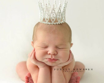 newborn photo prop, Newborn Crown, Photo Prop, Tiara - Eva, baby crown, photography prop, crystal crown