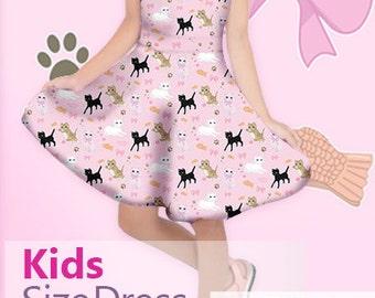 Cat Dress Kids Size Girls Cat Dress Kitten Sleeve Dress Cat Pattern *Made 2 Order*