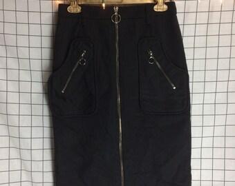 Rare Vintage MISCHEN Circle Zipper Midi Zip Up Skirt