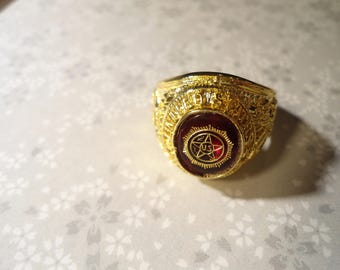 1 Goldplated Marine Ring with American Legion Stone. Please Specify Size 9-10-11-13 and 14
