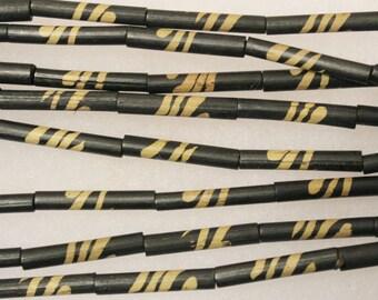 15 African Bamboo Beads Made In Kenya, Organic Beads , Eco Friendly Beads (c133)
