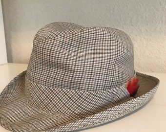 Plaid Hat Fedora with Feather