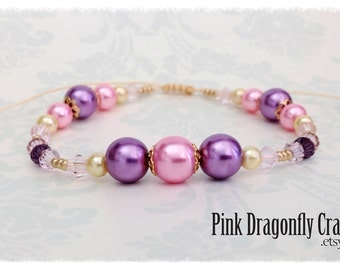Beaded Glass Pearl Bracelet, Pink, Purple and Cream - BR3