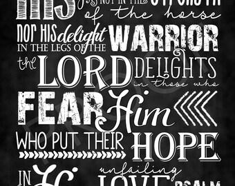 Scripture Psalm 147:10-11 ~ Chalkboard Style