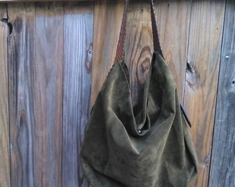 Olive Green Suede Hobo Bag/ Boho Style
