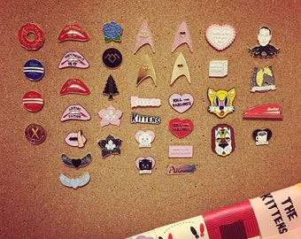 SUPER SALE 50% off! Jenni's Prints Mix and Match Pins choose your favourite pins Twin Peaks, Cat, Kitten, Office Space, Clerks lapel pin