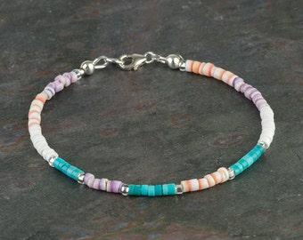 Turquoise and Spiny Oyster Heishi Bracelet w 925 Sterling Silver, Multicolor Gemstone Bracelet, Boho Stackable Bracelet, Genuine Turquoise
