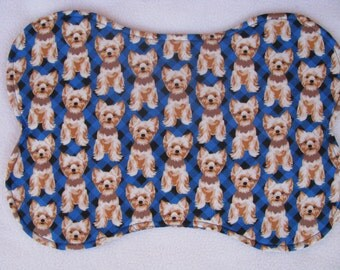 Yorkies Dog Bowl Feeding Placemat, Pet Place Mat, Dog Mat, Paw Prints Placemat, Dog Bone Mat, small