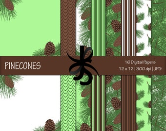 Digital Scrapbook Papers-Pinecones-Nature Backgrounds-Christmas Papers-Green-Pine Trees-Pine Clipart-Printable-Instant Download Clip Art