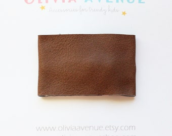 Brown Leather Snap Hair Clip - Vegan Leather Hairclip