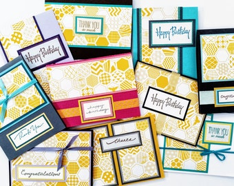 Yellow Honeycomb card - set of 10 - Birthday, Thank You, Congratulations