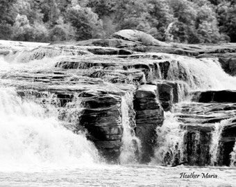 Kanawha Falls in black and white, West Virginia, fine art photography