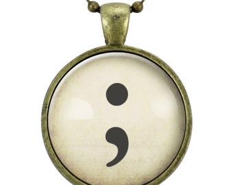 Semi Colon Necklace, Suicide Awareness Jewelry, Depression Survivor Recovery Pendant (2396B25MMBC)