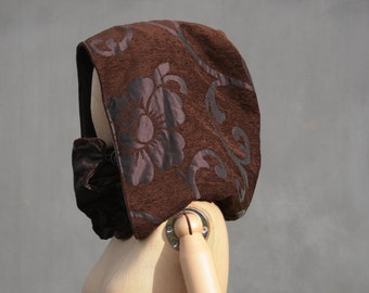 Hooded cowl, Brown floral, Victorian XXL hood, scoodie, hooded scarf, eco friendly design, fairytale,Solmode