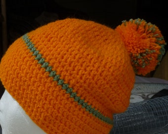 BEANIE Bright Orange green contrast Simple full bodied and POM POM top