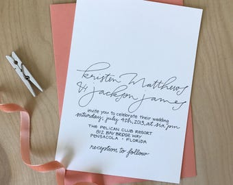 Simple Wedding Invitation / Calligraphy Custom Modern Handwritten / Black and White Invite / Modern Calligraphy Wedding Invitation Set