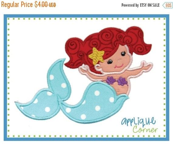 40% Off Sale 028 Mermaid applique digital design for embroidery machine by Applique Corner