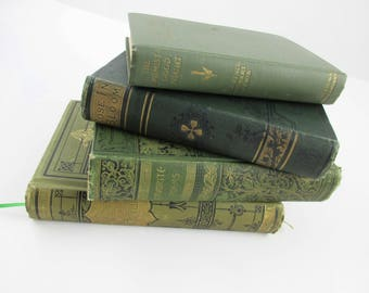 Four Books With Green Covers -  Perin, Alcott, Longfellow With Gold Gilt - 'Favorite Poems' - Office - School - Retro 1900-20s - Office Chic