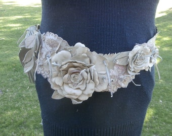 Leather and lace Belt