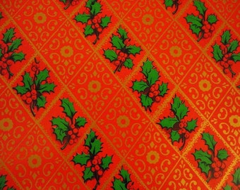 Vintage Christmas Paper- 1960s Wrapping Paper- ONE Unused sheet- Red with Holly - Traditional Design