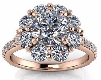 Diamond Halo Setting Engagement Ring Moissanite Center Stone Floral Design - Diamond Bouquet