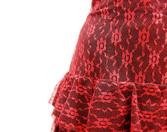 1950's Red Layered Lace Frock