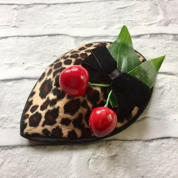 OOAK Faux Fur Leopard Print Cherry Fascinator Rockabilly Pinup