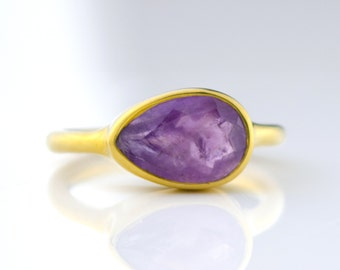 Purple Amethyst Ring, February Birthstone Ring, Gemstone Ring, Stacking Ring, Gold ring, tear drop Ring gift, stacking ring, statement ring