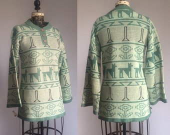 1960s Does 1930s Art Deco Mint Green Dog Pattern Sweater with Kimono Sleeves - Deadstock - M