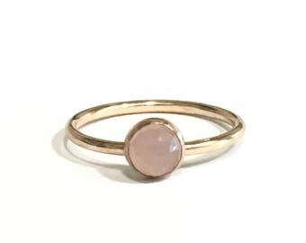 Gold Stacking Ring - Choose your Stone - Moonstone - Turquoise - Onyx - Pyrite - Rose Quartz -  14/20 Gold Fill - Minimal Dainty