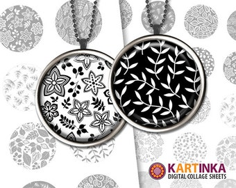 1.5 inch, 1 inch (25mm) Printable Images NATURE PATTERNS Black & White Digital Download for Round pendants Bezel trays Cabochons Bottle caps