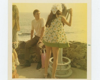 Vintage Snapshot Photo: Girl at Viewing Telescope, Sunset, 1970 (72551)
