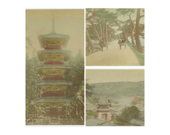 Set of 3 Antique Hand-Colored Albumen Photos: China, c1900 (71543)