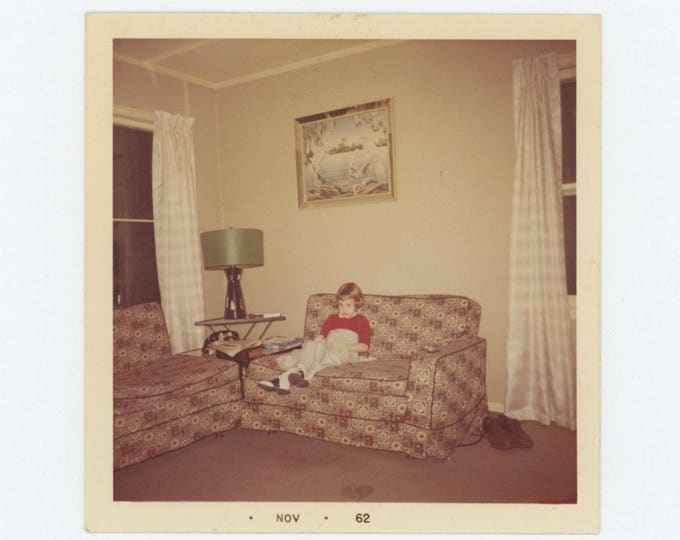 Vintage Snapshot Photo: Small Girl on Couch, 1962 (75574)