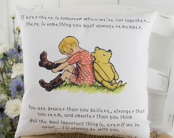 Winnie the Pooh Colour Quote Pillow Classic Winnie the Pooh for Nursery or Gift