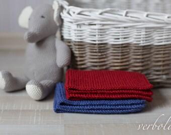 Italian Wool Mini Blanket Set of 2/Newborn Photo Prop/ Blue and Red Baby Blankets.