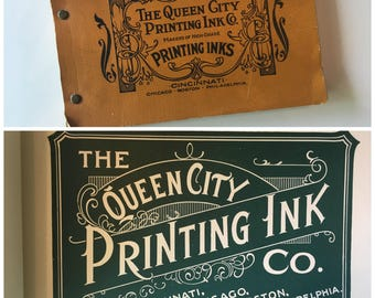 Vintage Queen City Printing Ink Co Color Swatch Booklet 89 Pages