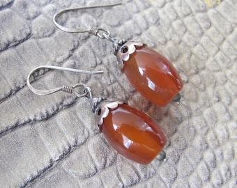 Carnelian Bead Vintage 925 Sterling Silver Drop Dangle Pierced Earrings. Tribal Silver Jewelry.Carnelian Agate Stone Bead Ethnic Chic Jewels