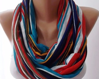 Christmas Gift Holiday Gift Scarf, Shawl, Gifts For Her, Gifts For Women Colorful Infinity Scarf