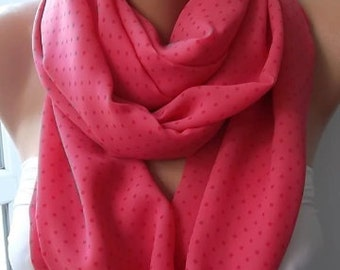 Scarf Christmas Gift Holiday Gift Gifts For Her Gifts For Women Pink Polka Dot scarf Loop scarf Infinity scarf Women's Accessories For Her