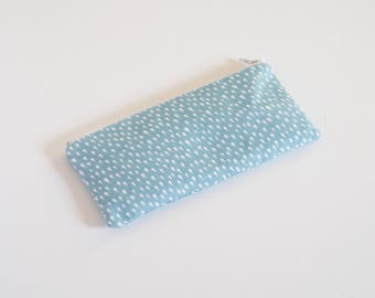 Drops pencil case, school supplies, blue zipper pouch, blue pencil pouch, drops pencil case, little pencil case - Blue Rain