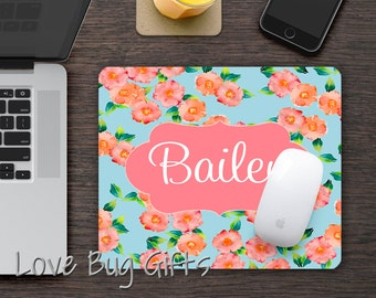 Personalized Mousepad * Pink and orange flowers * Chic * Personalized * Desk accessory * Mouse Pad