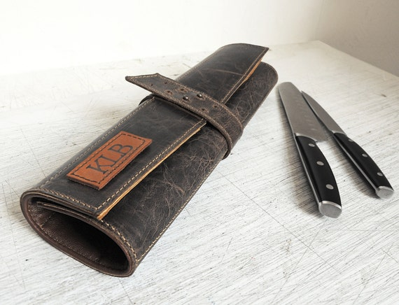 leather knife roll personalized chefs knife case dark grey. Black Bedroom Furniture Sets. Home Design Ideas