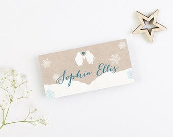 Rustic Penguin Folded Place Card