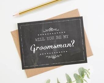 Will You Be My Groomsman Card - Chalk Rustic