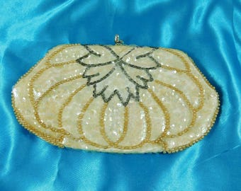 Bridal Clutch Purse,  Silver Glass Bugle Beads in Leaf Decor, Pearlescent Sequins, Luster Faux Pearls, Wedding or Wedding gift for the Bride