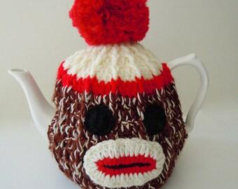 Hand Crocheted Knited Sock Monkey Tea Cosy 4-6 Cup